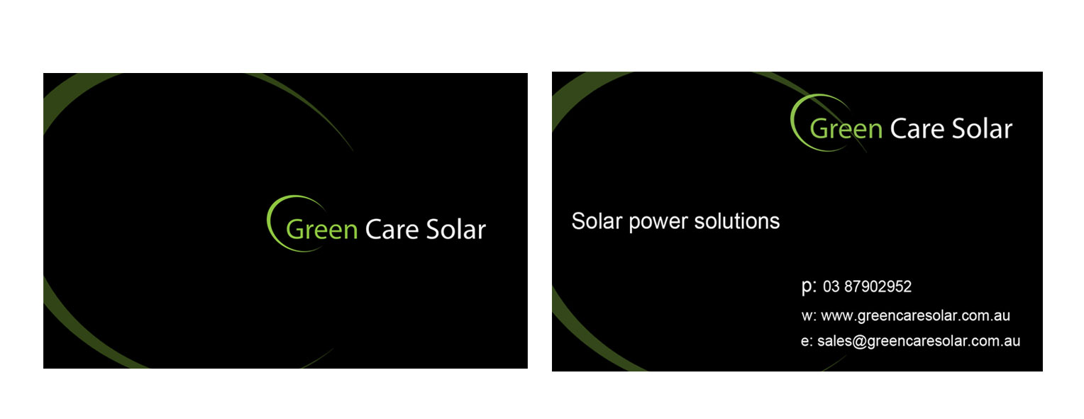 Green care solar business cards cheap website design melbourne project description green care solar business cards reheart Choice Image