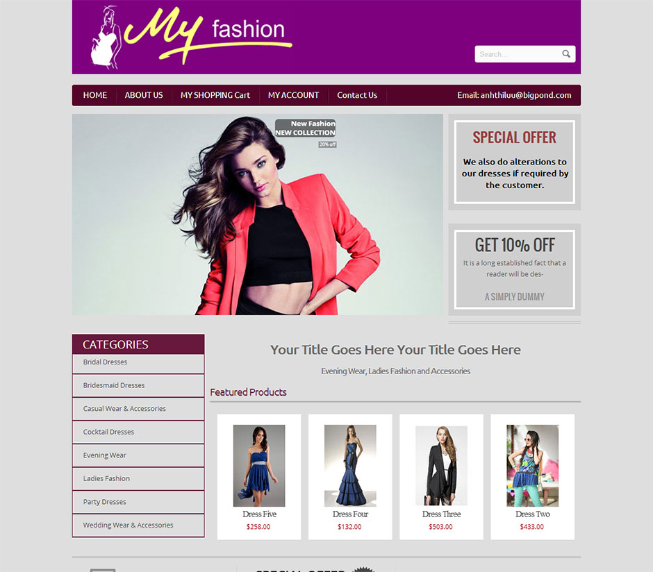 My Fashion Website Design Cheap Website Design Melbourne You Go Designs